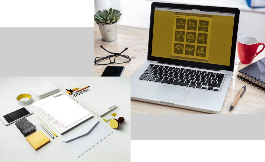 Webseite und Printprodukte wie zum Beispiel Visitenkarte und Briefpapier