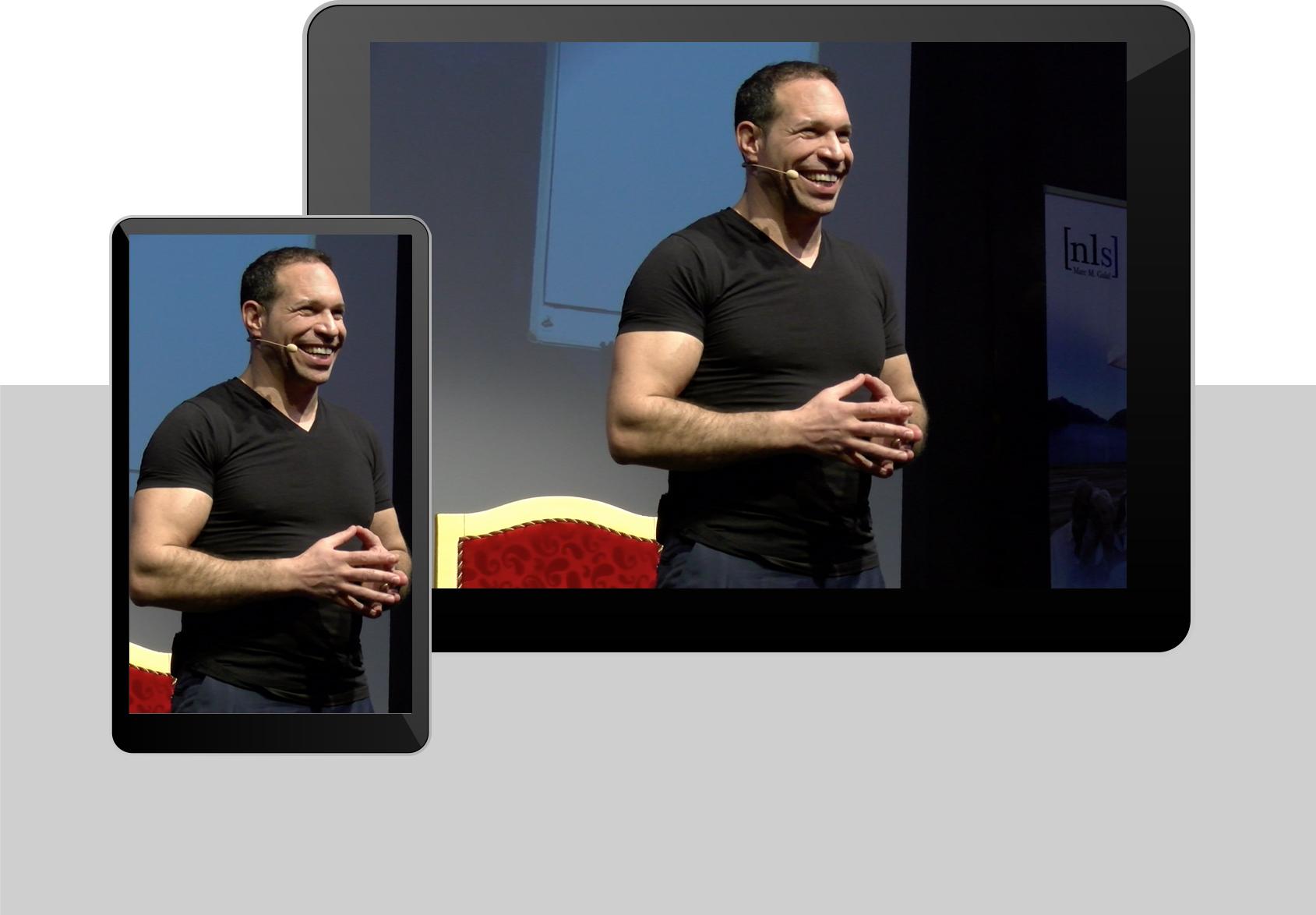 Handy und Tabletansicht von einem Seminar mit Marc Galal